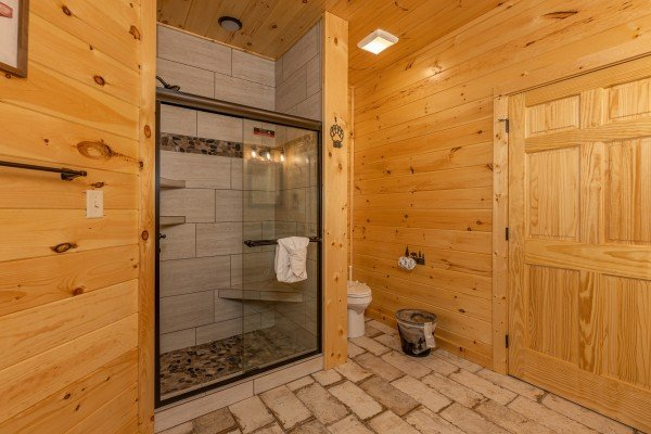 Shower in a bathroom at Wet Feet Retreat, a 5 bedroom cabin rental located in Pigeon Forge