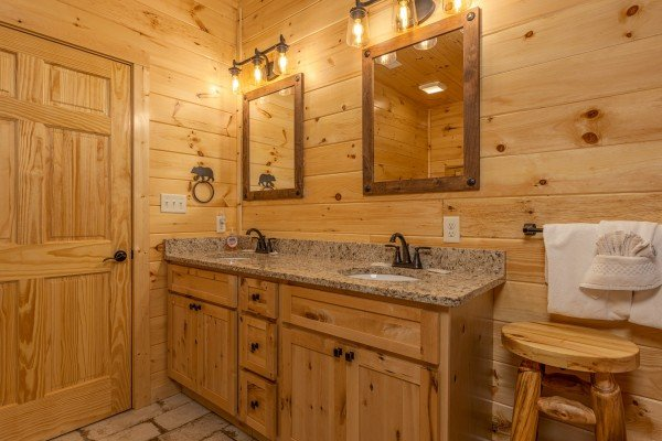 Double vanity sinks at Wet Feet Retreat, a 5 bedroom cabin rental located in Pigeon Forge