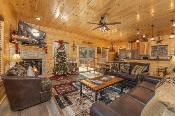 Living-room with fireplace, TV, and seating at Wet Feet Retreat, a 5 bedroom cabin rental located in Pigeon Forge
