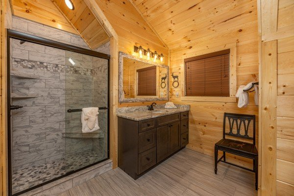 Bathroom with a walk in shower at Wet Feet Retreat, a 5 bedroom cabin rental located in Pigeon Forge