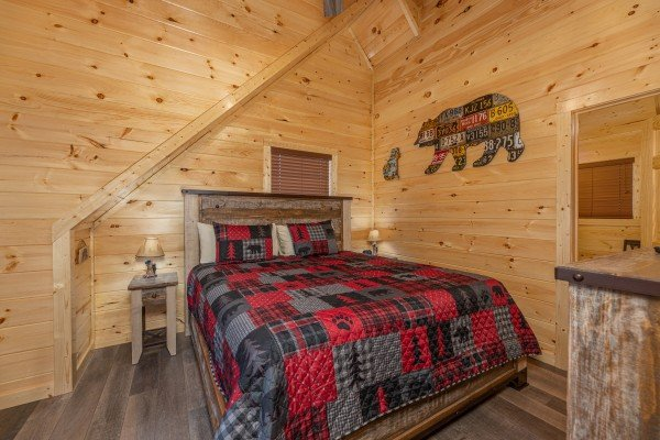 Bedroom in the loft at Wet Feet Retreat, a 5 bedroom cabin rental located in Pigeon Forge
