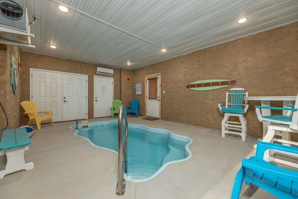 Indoor pool at Wet Feet Retreat, a 5 bedroom cabin rental located in Pigeon Forge