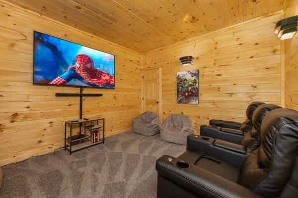 Theater room at Wet Feet Retreat, a 5 bedroom cabin rental located in Pigeon Forge