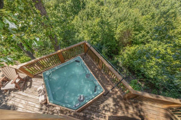 Hot tub on the deck at Eagles View Lodge, a 3 bedroom cabin rental located in Gatlinburg
