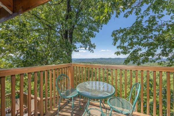 Bistro table at Eagles View Lodge, a 3 bedroom cabin rental located in Gatlinburg
