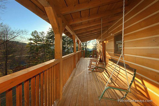 Swing on the deck at Eagle's View Lodge, a 3-bedroom cabin rental located in Gatlinburg