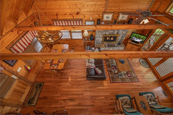 Living room and dining space at Eagles View Lodge, a 3 bedroom cabin rental located in Gatlinburg