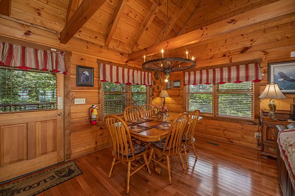 Dining table for six at Eagles View Lodge, a 3 bedroom cabin rental located in Gatlinburg