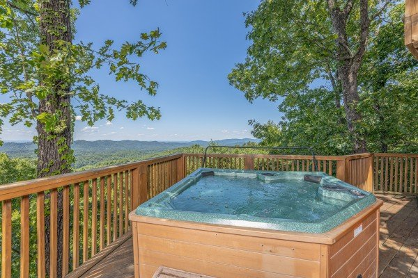 Hot tub and views at Eagles View Lodge, a 3 bedroom cabin rental located in Gatlinburg