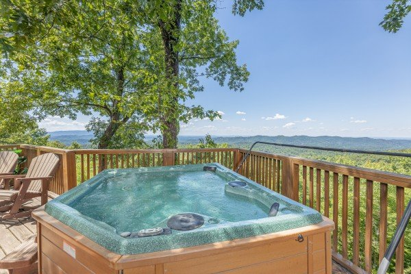 Hot tub views at Eagles View Lodge, a 3 bedroom cabin rental located in Gatlinburg