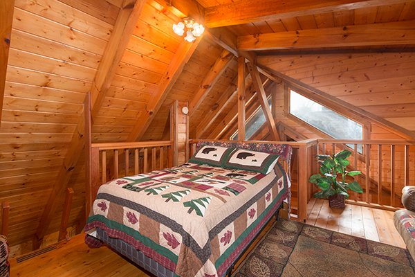 Loft bedroom at Eagle's View Lodge, a 3-bedroom cabin rental located in Gatlinburg