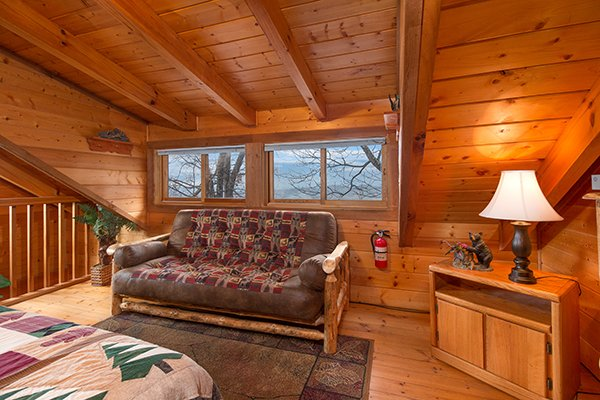 Futon in the loft at Eagle's View Lodge, a 3-bedroom cabin rental located in Gatlinburg