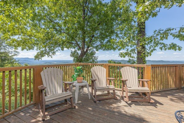 Adirondack chairs at Eagles View Lodge, a 3 bedroom cabin rental located in Gatlinburg