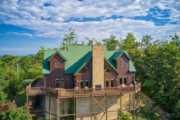 Drone exterior view at Majestic Views, a 3 bedroom cabin rental located in Pigeon Forge