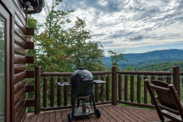 Grill on the deck overlooking the mountains at Majestic Views, a 3 bedroom cabin rental located in Pigeon Forge