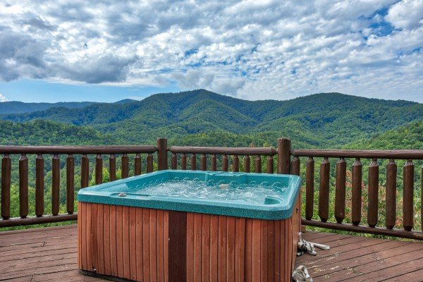 Hot tub overlooking the Great Smoky Mountains at Majestic Views, a 3 bedroom cabin rental located in Pigeon Forge