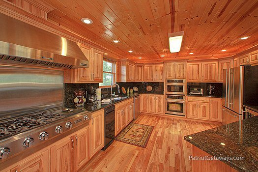 Kitchen with stainless steel appliances at Majestic Views, a 3 bedroom cabin rental located in Pigeon Forge