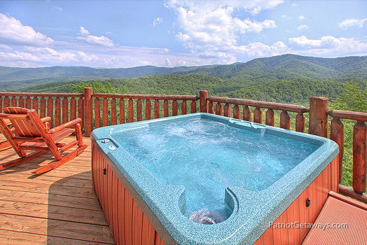 Smoky Mountain view from the hot tub at Majestic Views, a 3 bedroom cabin rental located in Pigeon Forge