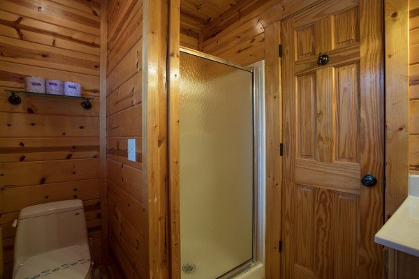 Bathroom with a shower stall at Majestic Views, a 3 bedroom cabin rental located in Pigeon Forge