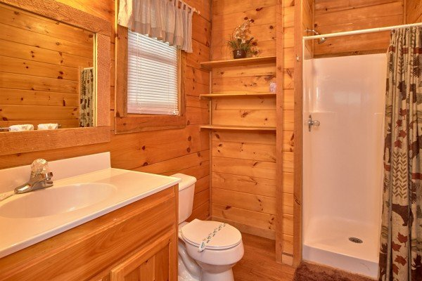 Bathroom with a shower at Wild Crush, a 1 bedroom cabin rental located in Pigeon Forge