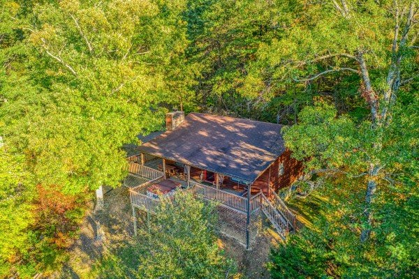 overhead drone view at apple view a 2 bedroom cabin rental located in pigeon forge