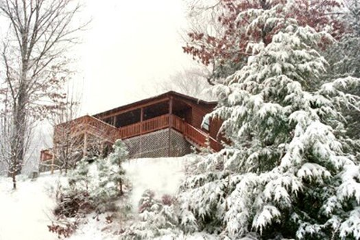 Snow-capped trees surround a log cabin at Apple View, a 2 bedroom cabin rental located in Pigeon Forge