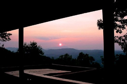 Sunset captured from the deck at Apple View, a 2 bedroom cabin rental located in Pigeon Forge