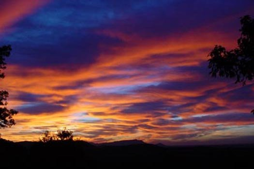 Sunset skies seen at Apple View, a 2 bedroom cabin rental located in Pigeon Forge
