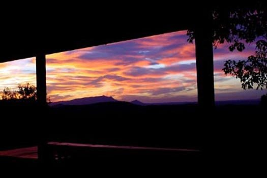 a smoky mountain sunset seen at Apple View, a 2 bedroom cabin rental located in Pigeon Forge