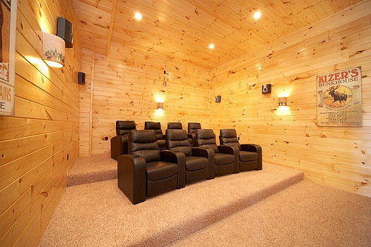 Seating in home theater at Don't Blink! A 5-bedroom cabin rental located in Pigeon Forge