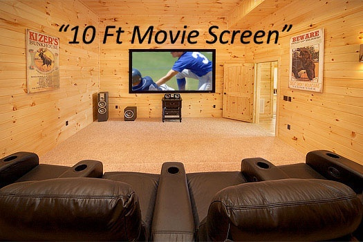 Home theater room with ten foot screen at Don't Blink! A 5-bedroom cabin rental located in Pigeon Forge