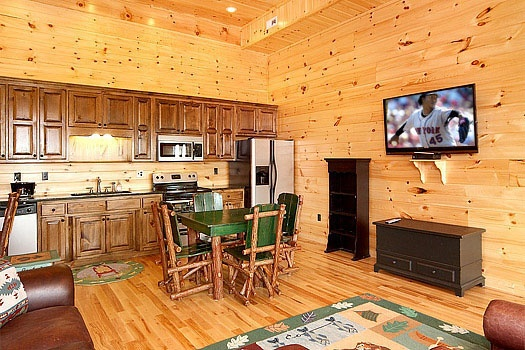 second kitchen on the lower level at don't blink! a 5 bedroom cabin rental located in pigeon forge