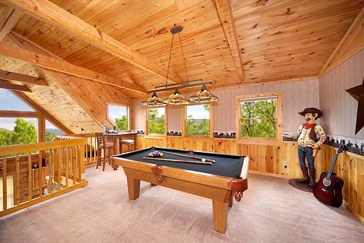 pool table in the loft at hooked on cowboys a 2 bedroom cabin rental located in pigeon forge