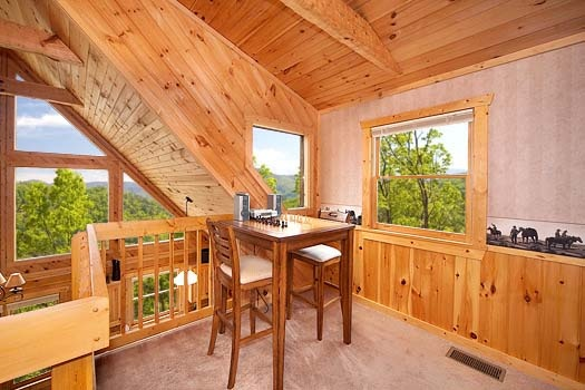 bar height table and chairs in the loft at hooked on cowboys a 2 bedroom cabin rental located in pigeon forge