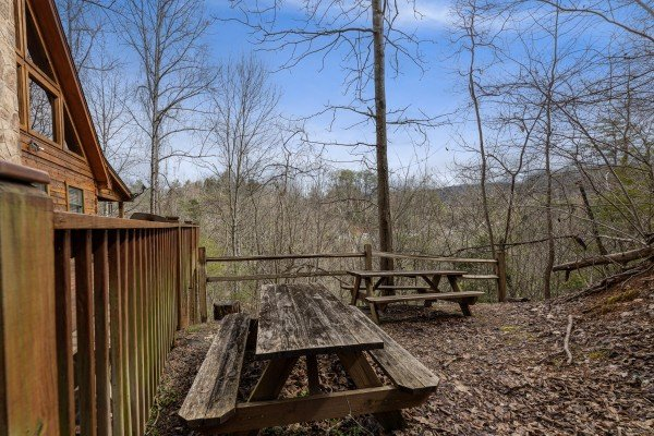 Picnic tables at Mickey's Playhouse, a 2 bedroom cabin rental located in Pigeon Forge