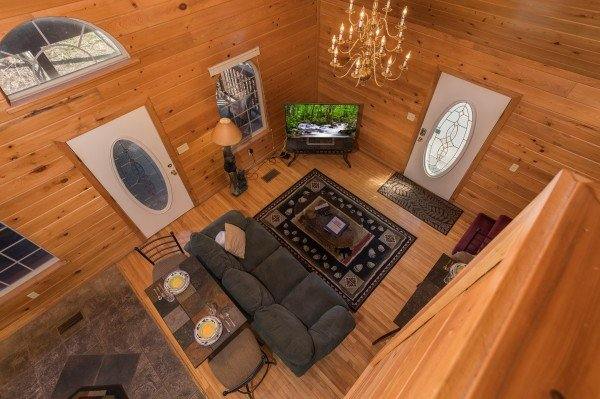 Looking down at the living room at Mountain Laurel, a 1 bedroom cabin rental located in Gatlinburg