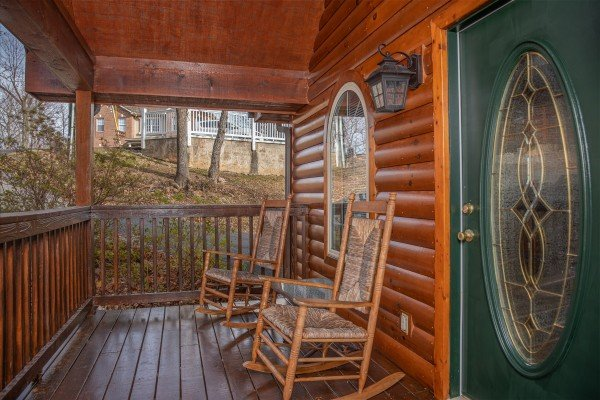Front porch with rocking chairs at Mountain Laurel, a 1 bedroom cabin rental located in Gatlinburg