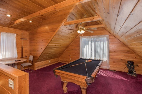 Game loft with a pool table at Mountain Laurel, a 1 bedroom cabin rental located in Gatlinburg