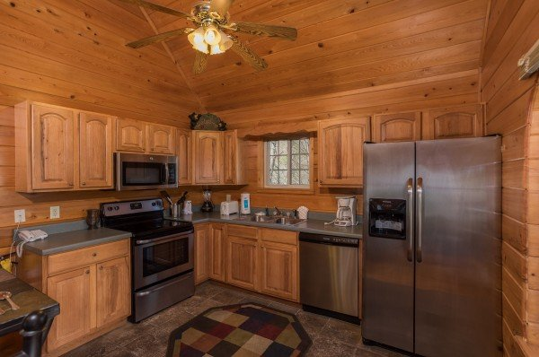 Kitchen with stainless appliances at Mountain Laurel, a 1 bedroom cabin rental located in Gatlinburg