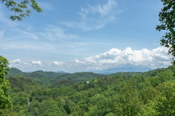 Mountain view as seen from the porch at Mountain Adventure, a 2 bedroom cabin rental located in Pigeon Forge