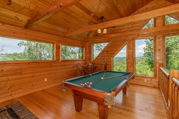 Pool table in the loft at Mountain Adventure, a 2 bedroom cabin rental located in Pigeon Forge