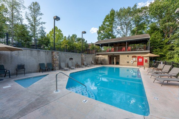 Pool and kiddie pool access for guests at Lazy Dayz Lodge, a 4 bedroom cabin rental located in Pigeon Forge