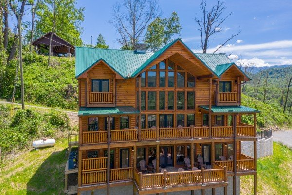 Back decks visible from the drone at Elk Horn Lodge, a 5 bedroom cabin rental located in Gatlinburg