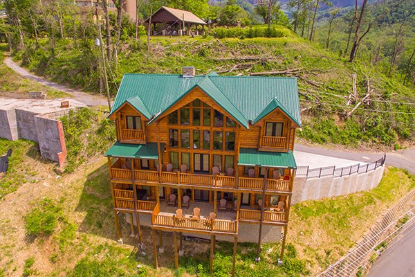 Looking back at Elk Horn Lodge, a 5 bedroom cabin rental located in Gatlinburg
