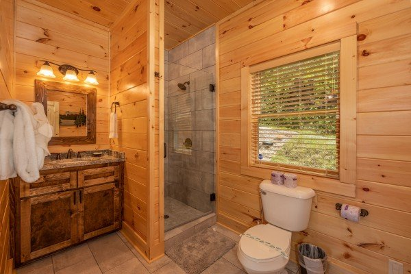 Bathroom with glassed shower at Elk Horn Lodge, a 5 bedroom cabin rental located in Gatlinburg