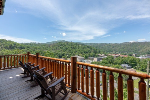 Gatlinburg views from the deck at Elk Horn Lodge, a 5 bedroom cabin rental located in Gatlinburg