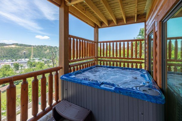 Hot tub with a view at Elk Horn Lodge, a 5 bedroom cabin rental located in Gatlinburg