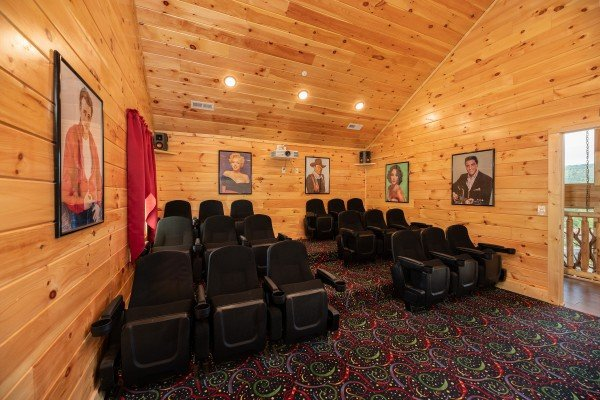 Theater room at Elk Horn Lodge at Elk Horn Lodge, a 5 bedroom cabin rental located in Gatlinburg