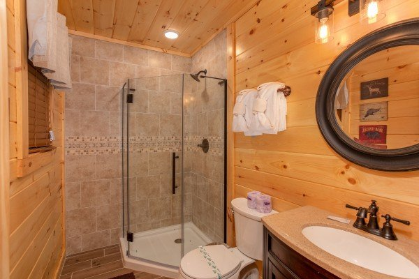Walk in shower at Smoky Mountain Treehouse, a 1 bedroom cabin rental located in Gatlinburg