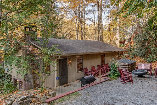 Outdoor entertaining space with main entry at Up the Creek, a 4 bedroom cabin rental located in Gatlinburg